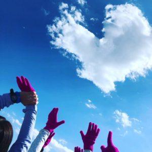 人文字の作り方:空を見上げたらハートの雲