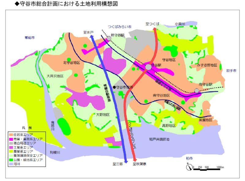 守谷市総合計画における土地利用構想図