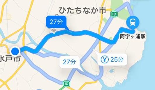 阿字ヶ浦海岸へ:ナビの地図
